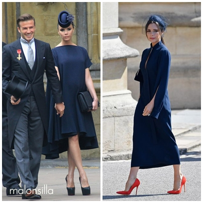Victoria Beckham comparacion look boda real de Willian y Harry en azul marino